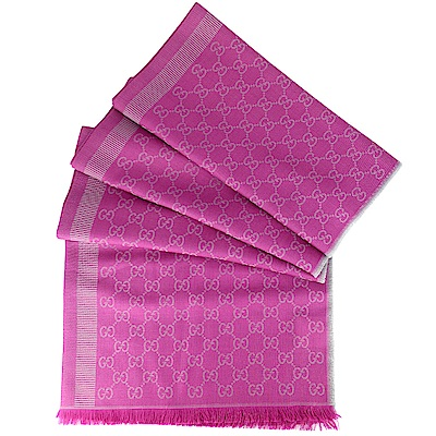 GUCCI 桃粉/灰色 G LOGO 羊毛混紡加長型圍巾