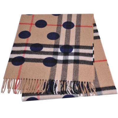 BURBERRY 經典大格紋圓型印花喀什米爾羊毛圍巾( 駝色/168x30)