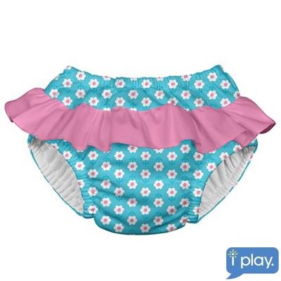 i play水藍花朵桃紅荷葉邊款寶寶泳褲
