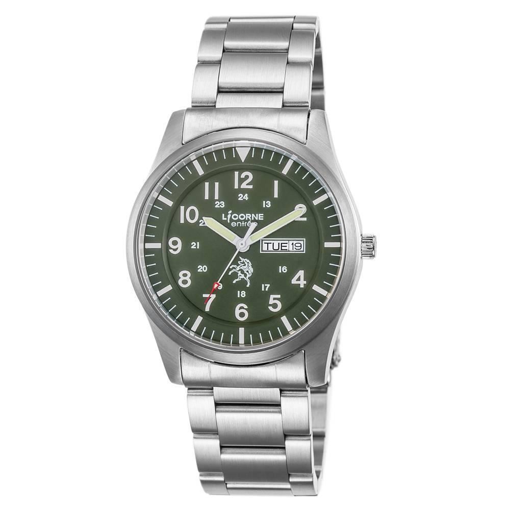 LICORNE力抗錶 城市簡約手錶 綠白x銀/41mm