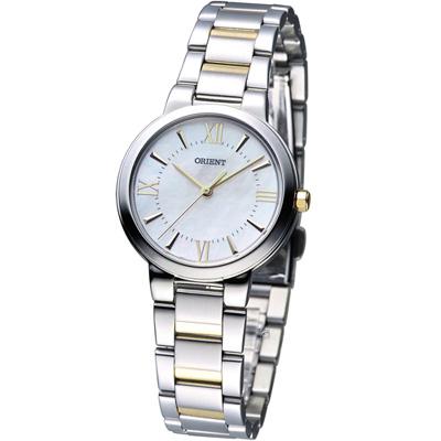 ORIENT 高雅珍珠 時尚腕錶-白彩貝x雙色/30mm