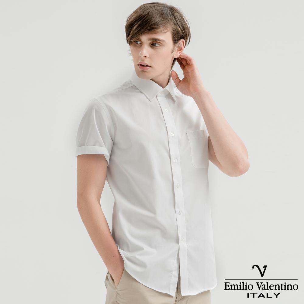 Emilio Valentino范倫提諾都會經典短袖襯衫-白緹花