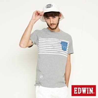 EDWIN 輪胎印條貼袋T恤-男-灰色