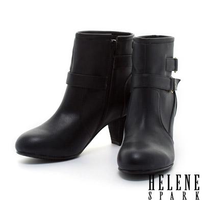 HELENE-SPARK-前後繫帶造型牛紋剪裁粗跟短靴-黑