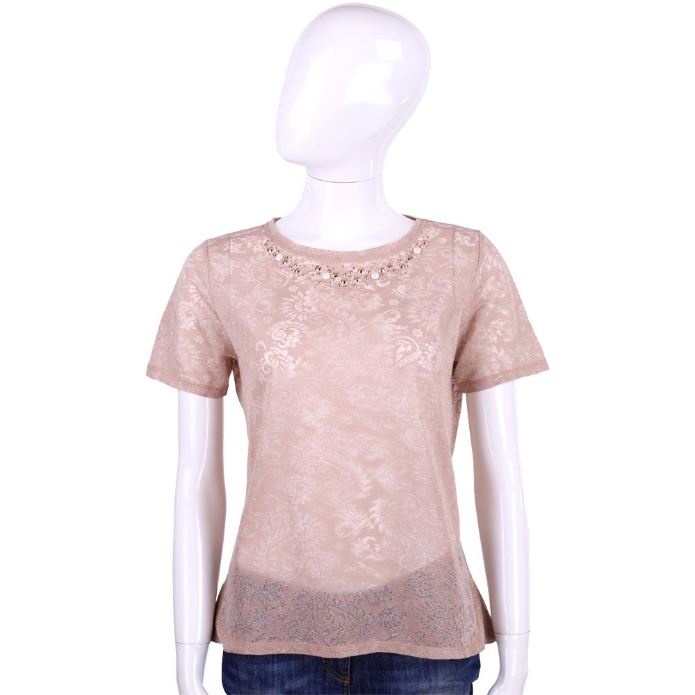 BLUGIRL 粉色巴洛克圖騰亮片綴飾短袖上衣