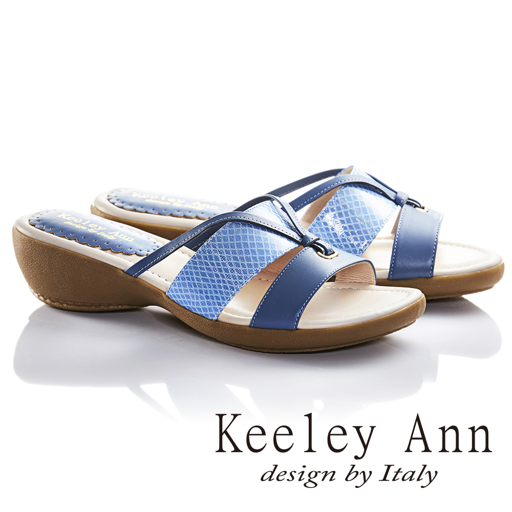 Keeley Ann特色壓紋拼接結飾真皮楔形涼拖鞋(藍色)