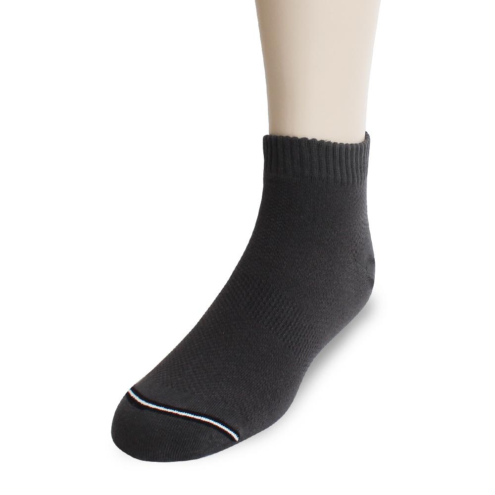 裕發 90°直角不滑落透氣網孔船型襪(20~24cm)3入-深灰