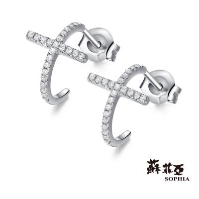 蘇菲亞SOPHIA 鑽石耳環 - 擁抱十字鑽石耳環(共兩色)