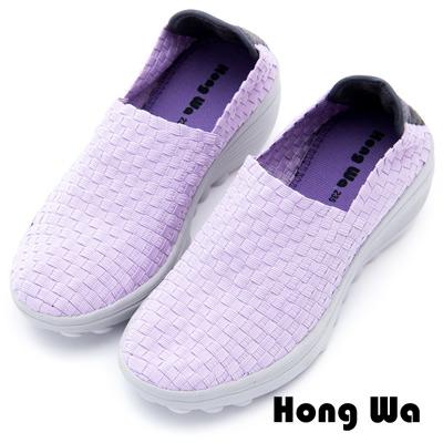 Hong Wa - 運動休閒透氣馬賽克編織布鞋 - 紫