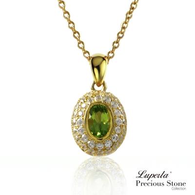 大東山珠寶 星座愛情橄欖石寶石璀璨純銀璨金項鍊 仲夏夜之吻