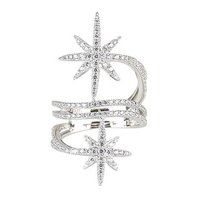 apm MONACO 晶鑽鑲飾雙流星設計純銀戒指-銀