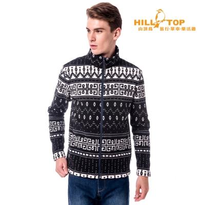 【hilltop山頂鳥】男款吸濕保暖外套H22MW3奶白底/黑印花