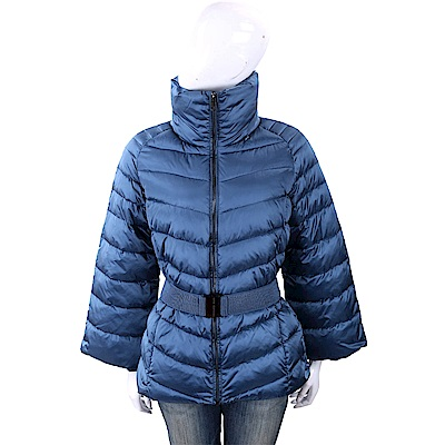 TRUSSARDI 絲光藍絎縫高領/連帽科技棉保暖外套(附腰帶/可拆式羊毛手套)