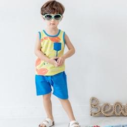 BEBEZOO 韓國 螃蟹小魚黃色背心短褲套裝2件組