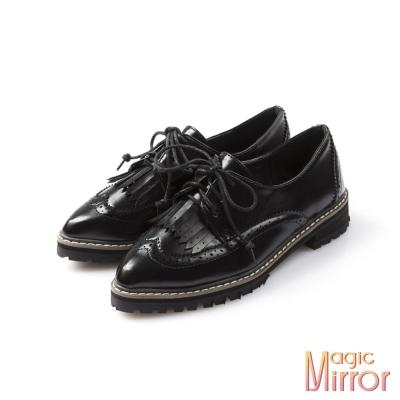 Magic-mirror-小流蘇裝飾紳士牛津鞋-漆亮黑