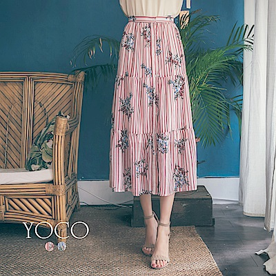 東京著衣-yoco 夏日微風條紋印花抓皺層次長裙-S.M.L(共二色)