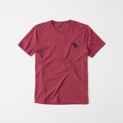 A&F 經典刺繡大麋鹿圓領素色短袖T恤-紅色 AF Abercrombie