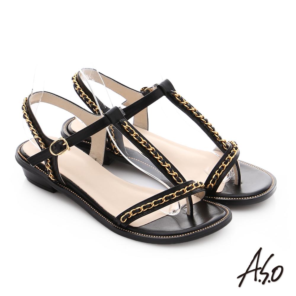 A.S.O 嬉皮假期 金屬鍊條拼接牛皮T字涼鞋 黑色