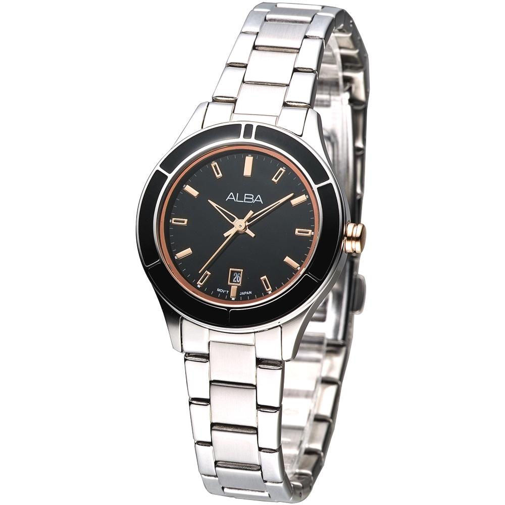 ALBA 都會之光時尚女腕錶(AH7563X1)-黑x玫瑰金刻/28mm
