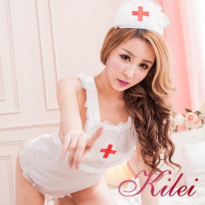 角色扮演-全尺碼-白衣天使圍裙扮演護士服-帽-丁字