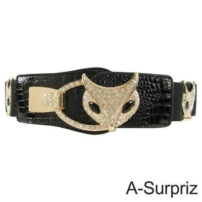 A-Surpriz 閃耀狐狸晶鑽扣環彈性腰帶(黑)