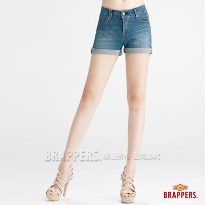 BRAPPERS 女款 BoyFriendJeans系列-女用彈性反摺短褲-淺藍