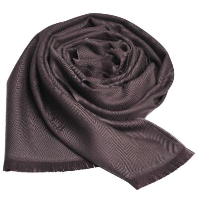GUCCI SU CREST 品牌圖騰羊毛寬版批肩/圍巾(茶褐/180x40)