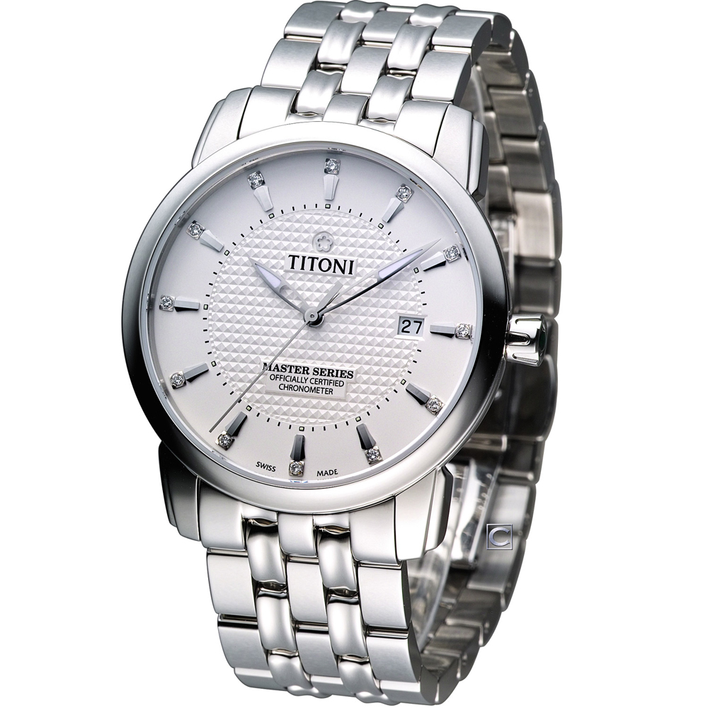 TITONI Master Series 天文台認證機械腕錶-白/41mm