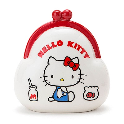Sanrio HELLO KITTY復古口金包造型陶磁存錢筒