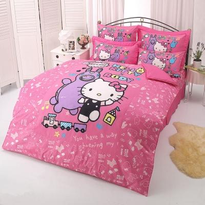 HELLO KITTY x RODY 歡樂時光系列-雙人純棉四件式床包薄被套組(粉)