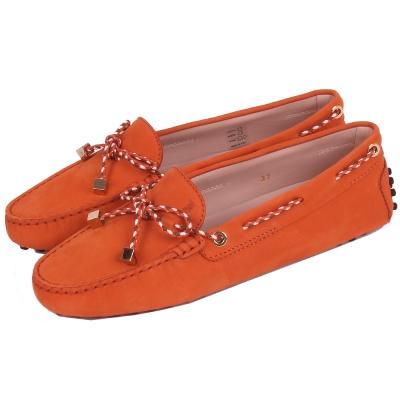 TOD'S Gommino 撞色編織綁帶豆豆休閒鞋(暖橘色)