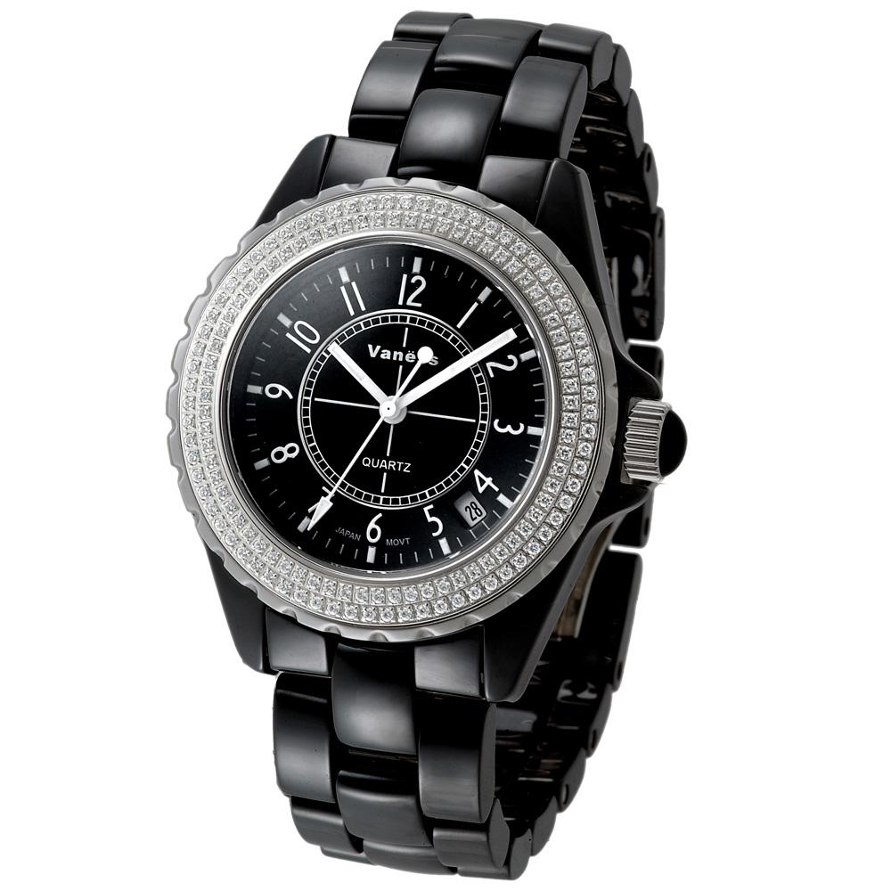 Vaness低調奢華晶鑽陶瓷錶黑39mm