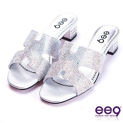 ee9 都會優雅鑲嵌亮鑽鏤空露趾粗跟拖鞋 銀色