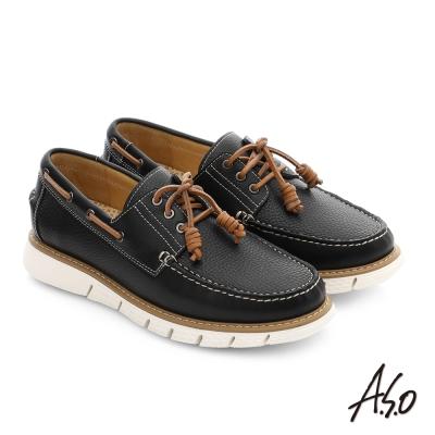 A.S.O 3D超動能 全牛皮手縫奈米都會休閒鞋 黑色
