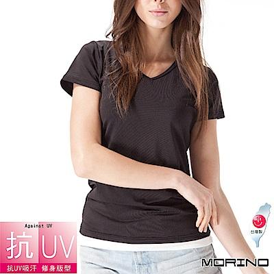 女內搭 抗UV吸排速乾女短袖V領衫 黑 MORINO摩力諾