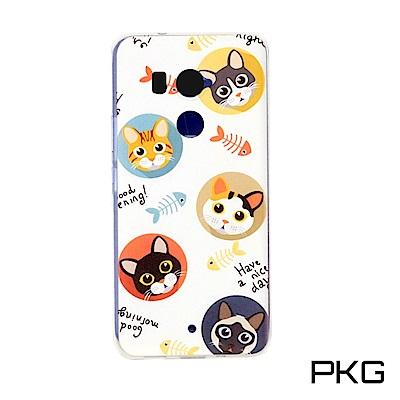 PKG HTC U11-PLUS 彩繪保護殼-創意彩繪-貓&魚骨