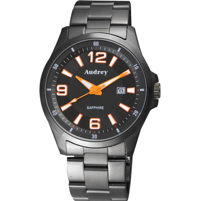 Audrey 歐德利 薄型設計紳士腕錶(AUGM2593)-黑x橘指針/42mm