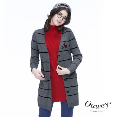 OUWEY歐薇-紅脣刺繡貼布針織外套-灰