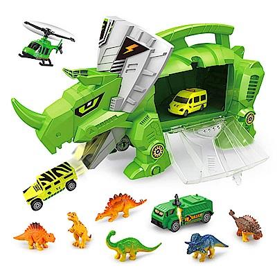 Amuzinc酷比樂 兒童玩具 恐龍世界 恐龍收納車 內附6種恐龍與4台小車 9917