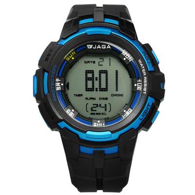 JAGA 捷卡 電子液晶第二時區計時碼錶鬧鈴橡膠手錶-藍黑色/52mm