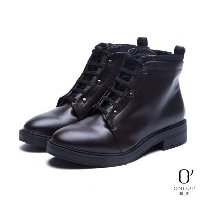 達芙妮x高圓圓-圓漾系列-短靴-雙領綁帶低跟短靴-酒紅8H