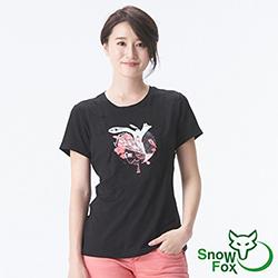 【SNOWFOX 雪狐】新銳插畫家劉經瑋聯名圖T/女款短袖T恤 AT-81606W 黑