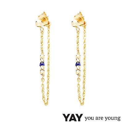 YAY You Are Young 法國品牌 Cleo 青金石耳環 前後扣雙層鍊設計