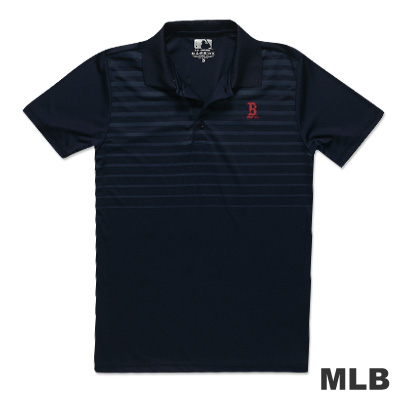 MLB-波士頓紅襪隊印花條紋快排POLO衫-深藍(男)