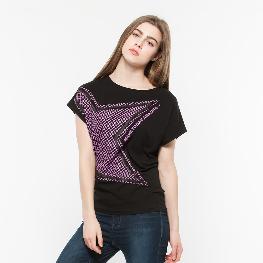 Hang Ten - 女裝 - 流行英文標語梯版T-Shirt- 黑