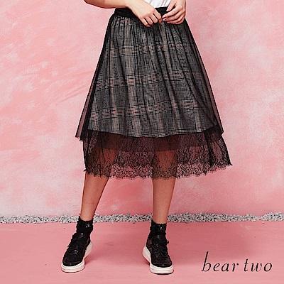 beartwo 蕾絲拼接格紋紗裙(黑色)