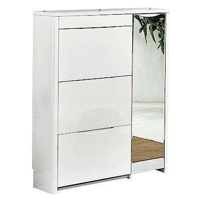 AT HOME-賽門3.3尺白色三門掀式鞋櫃(100*24*110cm)