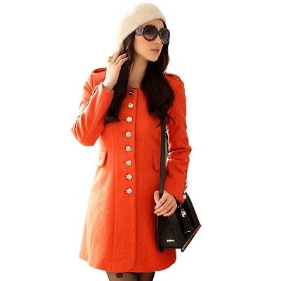 Reko-Fashion-橙色單排扣瘦腰呢大衣外套