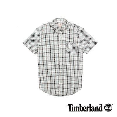 Timberland 男款薄荷綠細格紋修身短袖襯衫