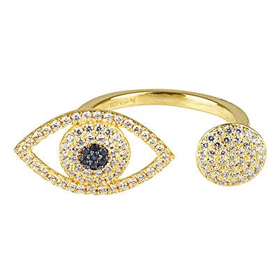 apm MONACO ETE系列晶鑽鑲飾幸運眼金黃色純銀開口戒指(金)